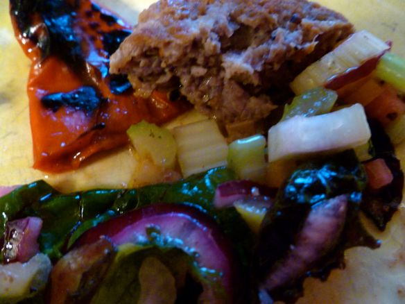 Home-made sausage, hot peppers in oil & a crisp green salad